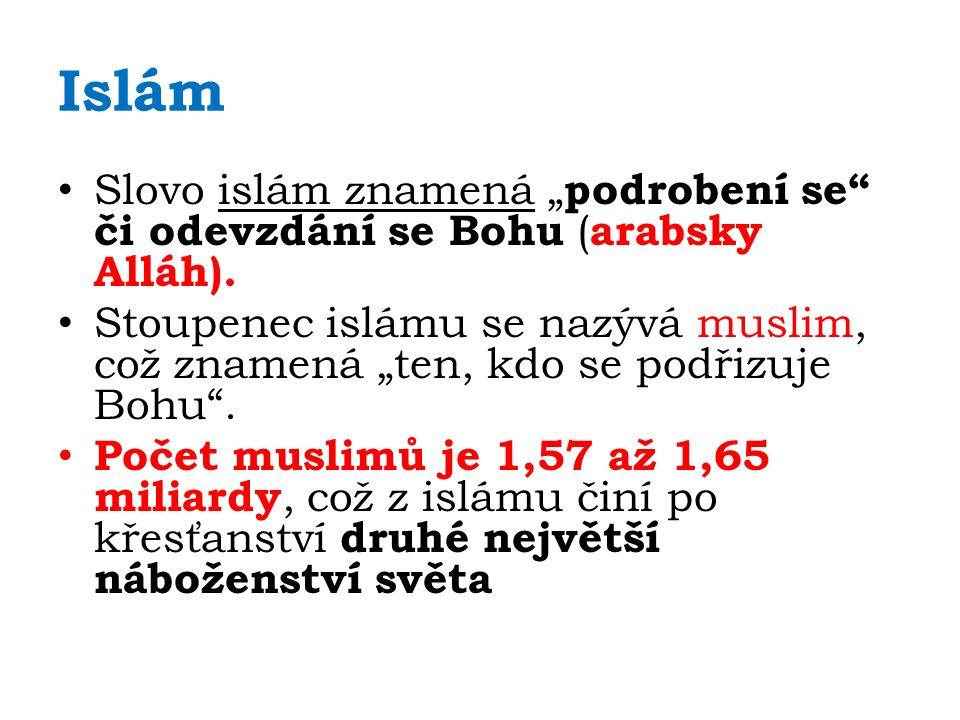 """Islám Slovo islám znamená """" podrobení se či odevzdání se Bohu ( arabsky Alláh)."""
