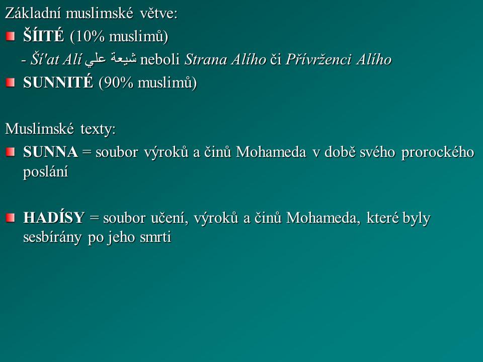 Základní muslimské větve: ŠÍITÉ (10% muslimů) - Ší at Alí شيعة علي neboli Strana Alího či Přívrženci Alího - Ší at Alí شيعة علي neboli Strana Alího či Přívrženci Alího SUNNITÉ (90% muslimů) Muslimské texty: SUNNA = soubor výroků a činů Mohameda v době svého prorockého poslání HADÍSY = soubor učení, výroků a činů Mohameda, které byly sesbírány po jeho smrti
