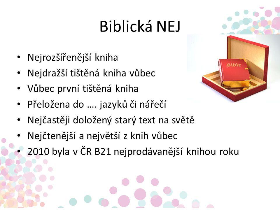 Biblická NEJ Nejrozšířenější kniha Nejdražší tištěná kniha vůbec Vůbec první tištěná kniha Přeložena do …. jazyků či nářečí Nejčastěji doložený starý