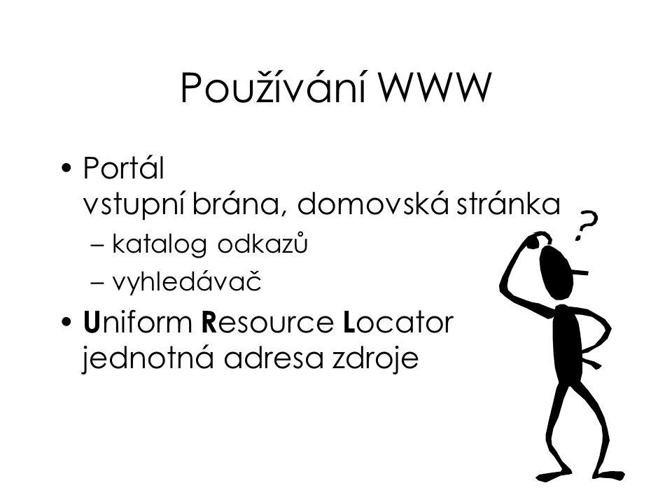 Používání WWW Portál vstupní brána, domovská stránka –katalog odkazů –vyhledávač U niform R esource L ocator jednotná adresa zdroje