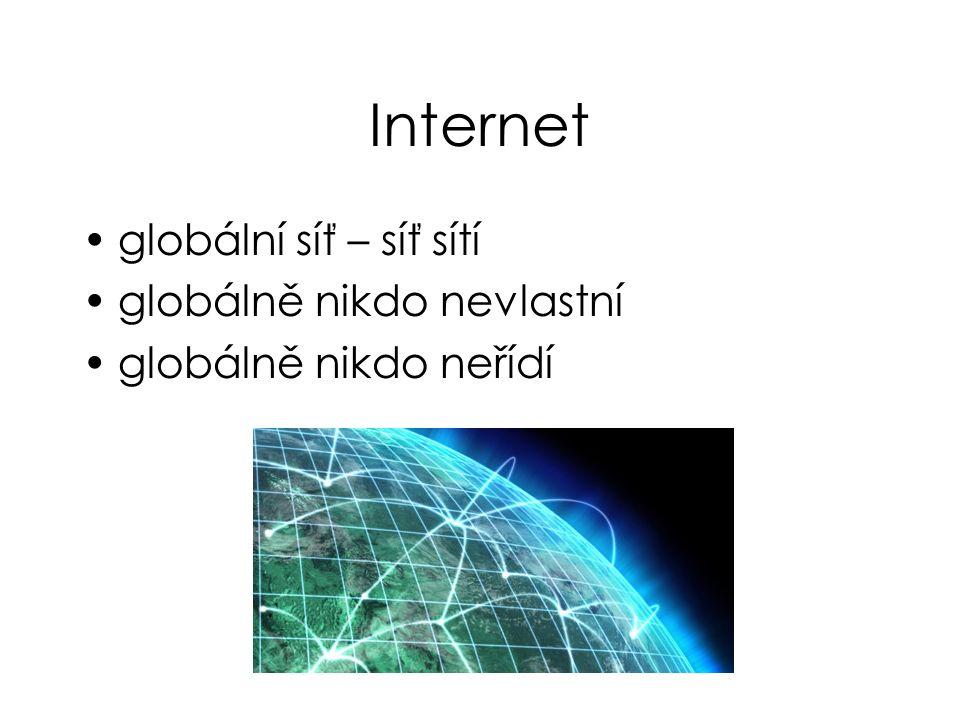 Internet globální síť – síť sítí globálně nikdo nevlastní globálně nikdo neřídí