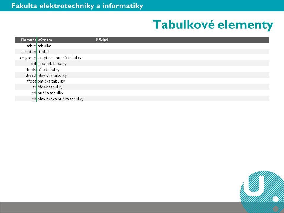 Tabulkové elementy