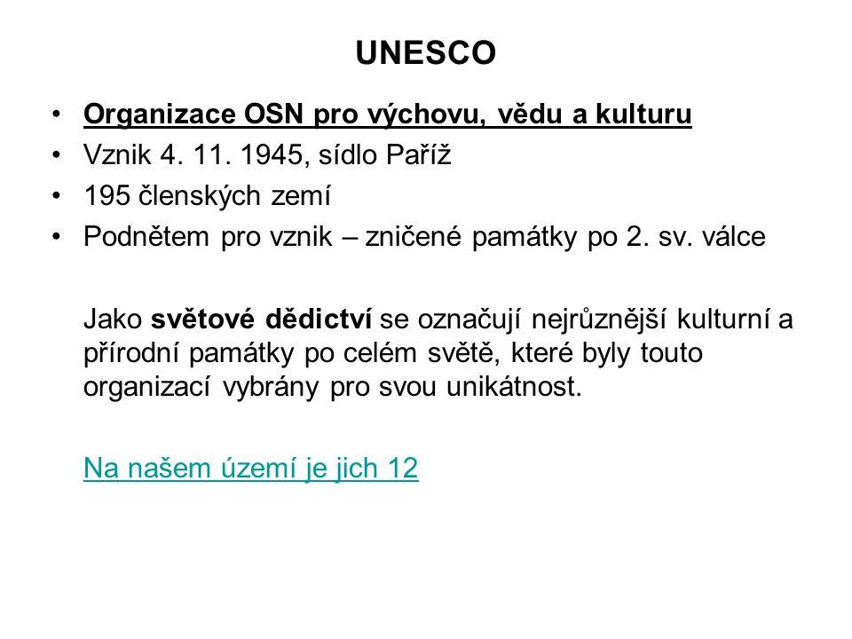 UNESCO Organizace OSN pro výchovu, vědu a kulturu Vznik 4.