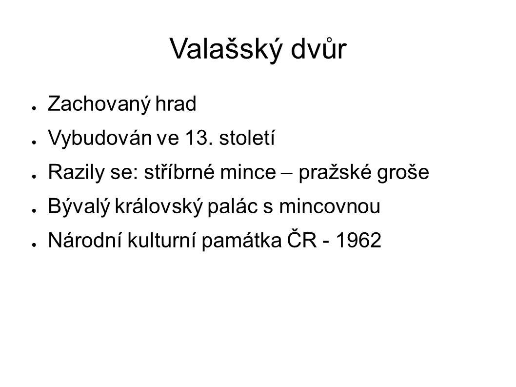 Valašský dvůr ● Zachovaný hrad ● Vybudován ve 13. století ● Razily se: stříbrné mince – pražské groše ● Bývalý královský palác s mincovnou ● Národní k