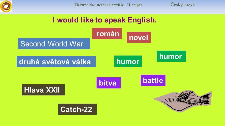 Elektronické učební materiály - II. stupeň Český jazyk I would like to speak English.