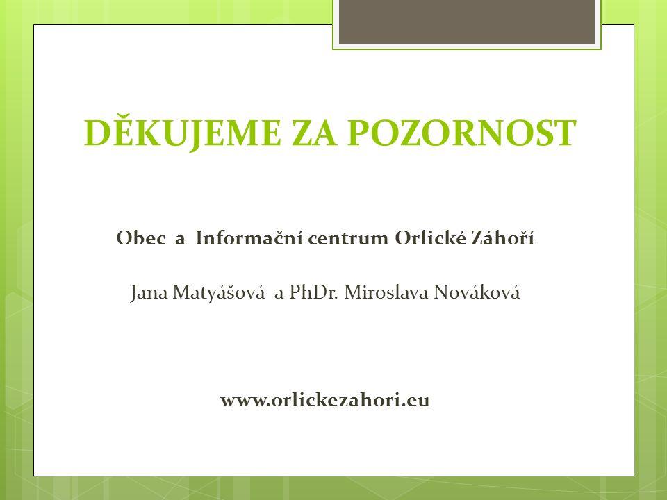 DĚKUJEME ZA POZORNOST Obec a Informační centrum Orlické Záhoří Jana Matyášová a PhDr.