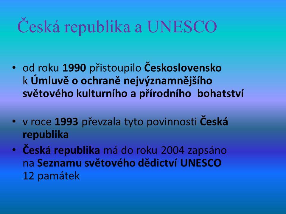Česká republika a UNESCO od roku 1990 přistoupilo Československo k Úmluvě o ochraně nejvýznamnějšího světového kulturního a přírodního bohatství v roce 1993 převzala tyto povinnosti Česká republika Česká republika má do roku 2004 zapsáno na Seznamu světového dědictví UNESCO 12 památek
