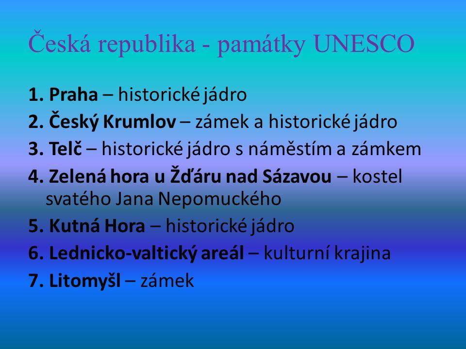Česká republika - památky UNESCO 1. Praha – historické jádro 2.