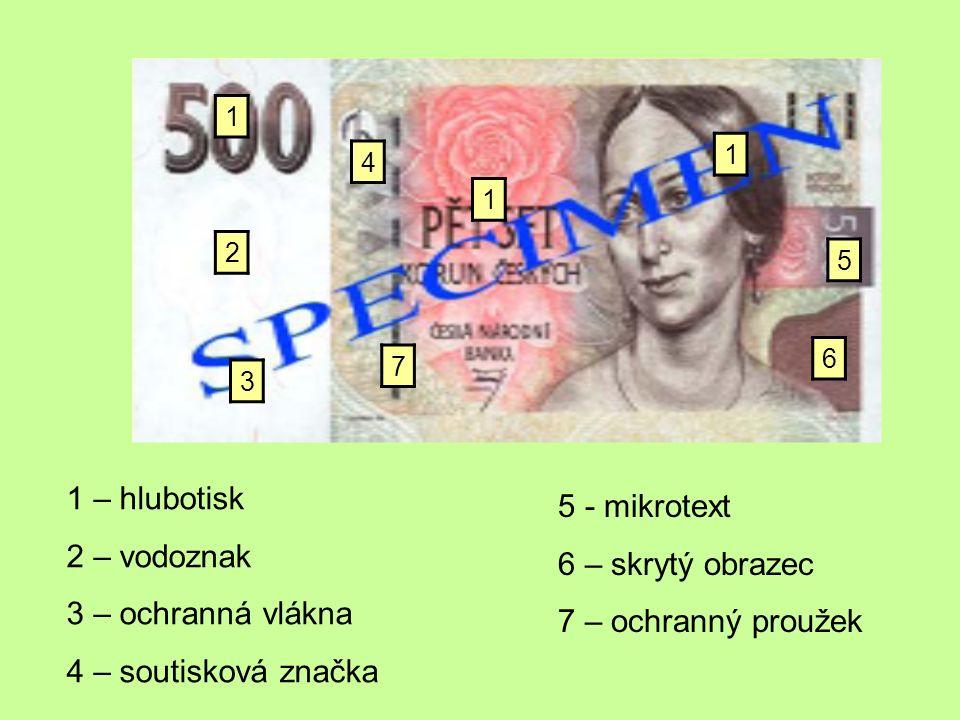 4 2 3 5 2 – vodoznak 3 – ochranná vlákna 4 – soutisková značka 5 - mikrotext Kromě jednotlivých znaků má bankovka také specifický papír