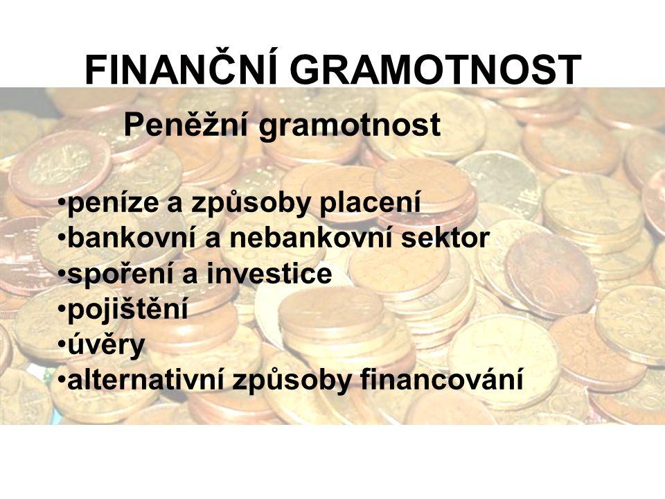 FINANČNÍ GRAMOTNOST Peněžní gramotnost peníze a způsoby placení bankovní a nebankovní sektor spoření a investice pojištění úvěry alternativní způsoby