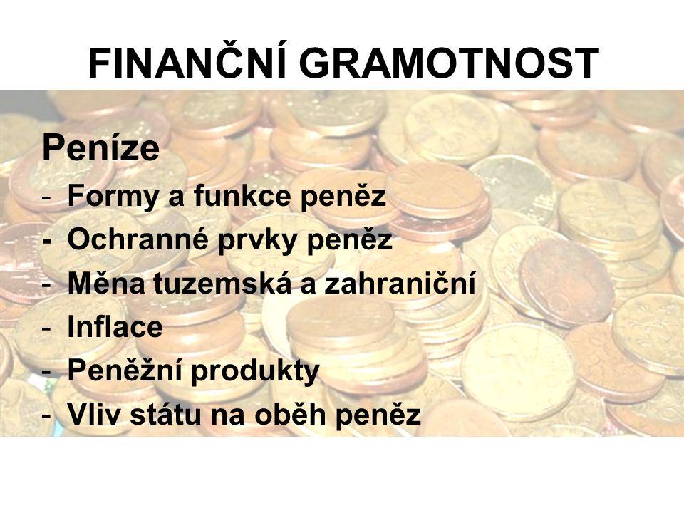 FINANČNÍ GRAMOTNOST Peníze -Formy a funkce peněz -Ochranné prvky peněz -Měna tuzemská a zahraniční -Inflace -Peněžní produkty -Vliv státu na oběh peněz