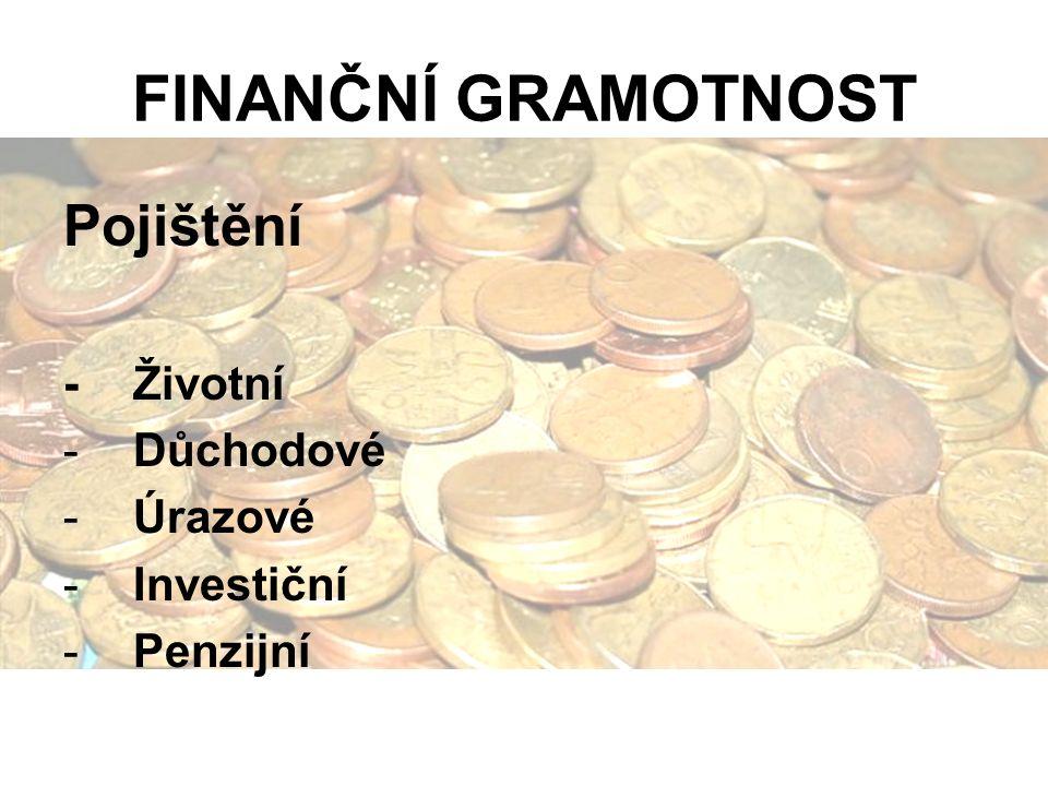 FINANČNÍ GRAMOTNOST Pojištění -Životní -Důchodové -Úrazové -Investiční -Penzijní