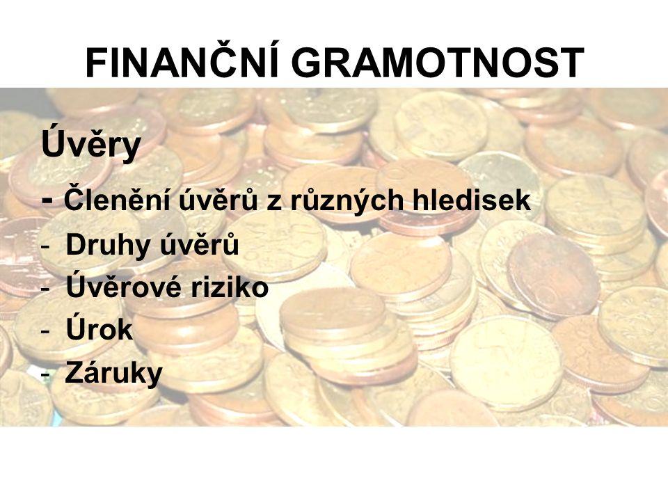 FINANČNÍ GRAMOTNOST Úvěry - Členění úvěrů z různých hledisek -Druhy úvěrů -Úvěrové riziko -Úrok -Záruky