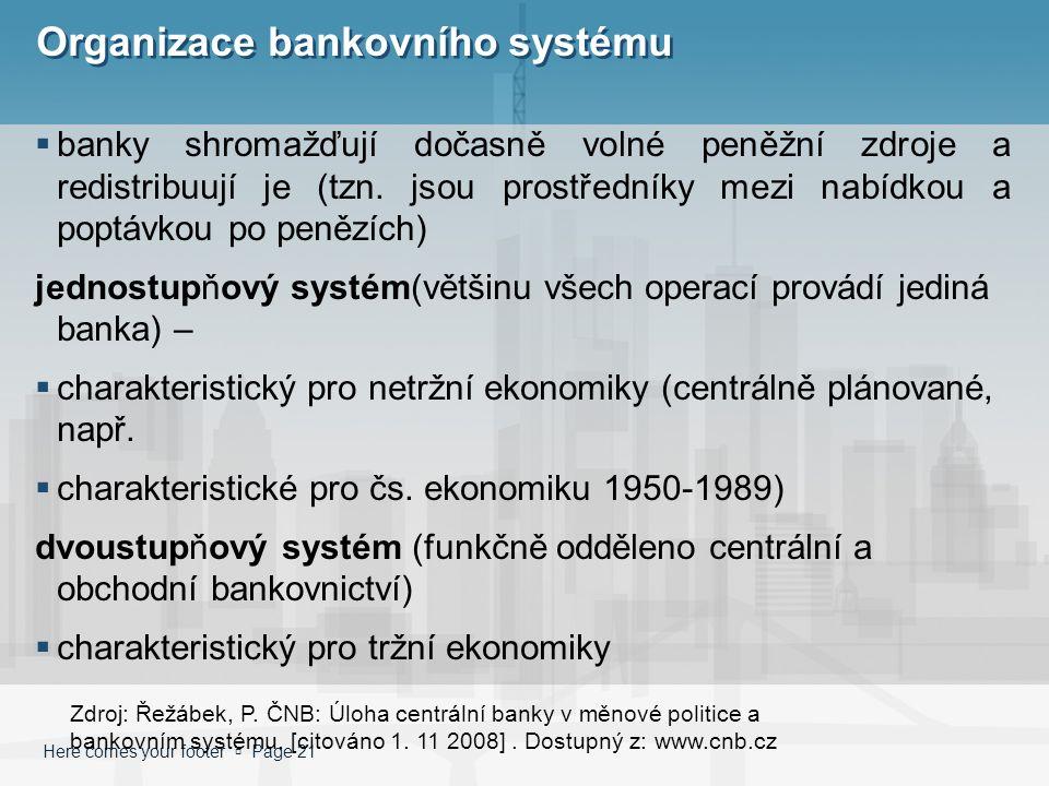 Here comes your footer  Page 21 Organizace bankovního systému  banky shromažďují dočasně volné peněžní zdroje a redistribuují je (tzn. jsou prostřed