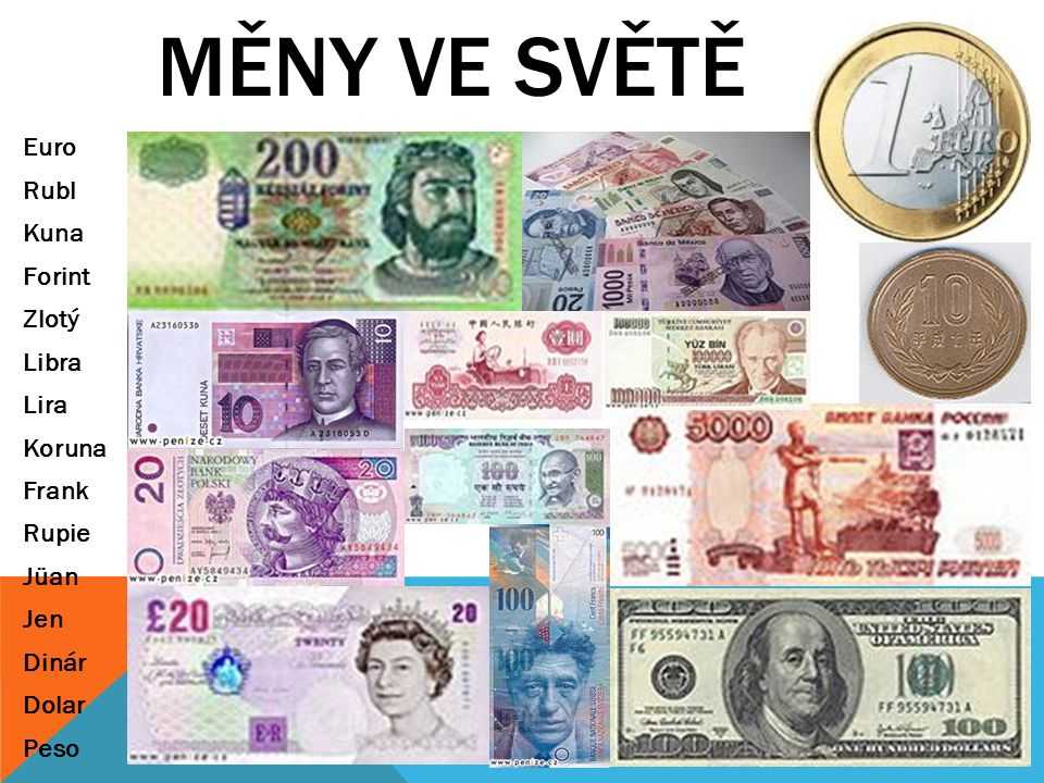 MĚNY VE SVĚTĚ Euro Rubl Kuna Forint Zlotý Libra Lira Koruna Frank Rupie Jüan Jen Dinár Dolar Peso