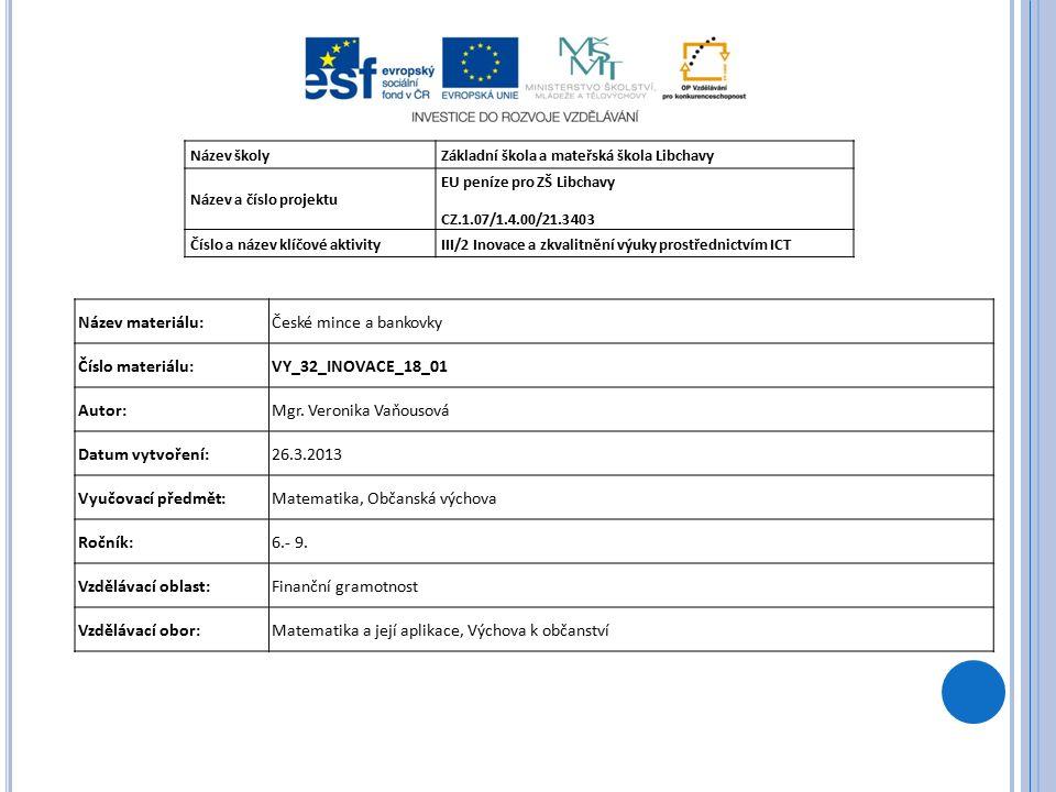 Název školyZákladní škola a mateřská škola Libchavy Název a číslo projektu EU peníze pro ZŠ Libchavy CZ.1.07/1.4.00/21.3403 Číslo a název klíčové aktivityIII/2 Inovace a zkvalitnění výuky prostřednictvím ICT Název materiálu:České mince a bankovky Číslo materiálu:VY_32_INOVACE_18_01 Autor:Mgr.