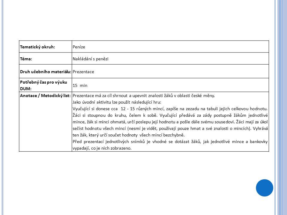 Tematický okruh:Peníze Téma:Nakládání s penězi Druh učebního materiálu:Prezentace Potřebný čas pro výuku DUM: 15 min Anotace / Metodický list:Prezentace má za cíl shrnout a upevnit znalosti žáků v oblasti české měny.
