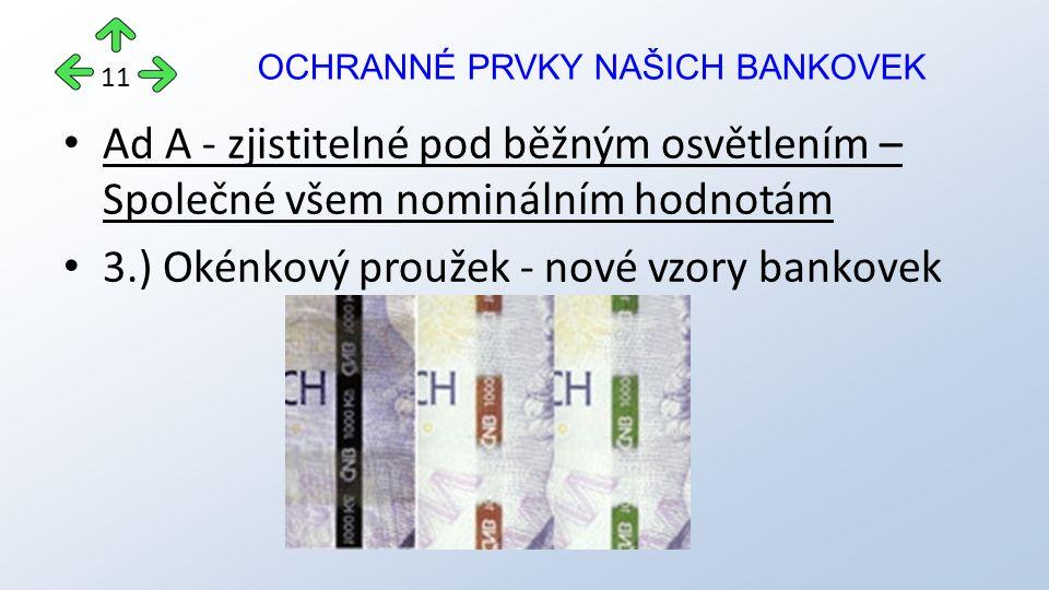 Ad A - zjistitelné pod běžným osvětlením – Společné všem nominálním hodnotám 3.) Okénkový proužek - nové vzory bankovek OCHRANNÉ PRVKY NAŠICH BANKOVEK 11
