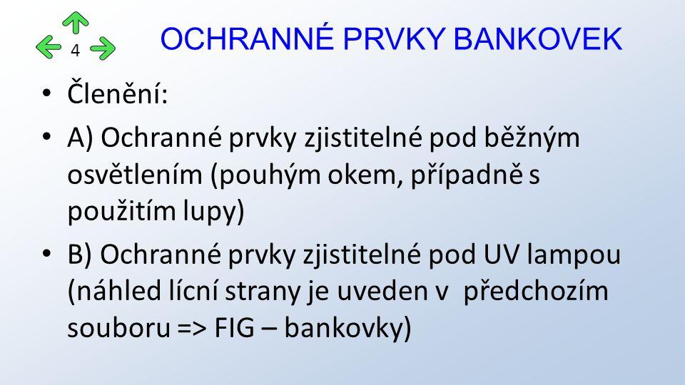 Členění: A) Ochranné prvky zjistitelné pod běžným osvětlením (pouhým okem, případně s použitím lupy) B) Ochranné prvky zjistitelné pod UV lampou (náhled lícní strany je uveden v předchozím souboru => FIG – bankovky) OCHRANNÉ PRVKY BANKOVEK 4