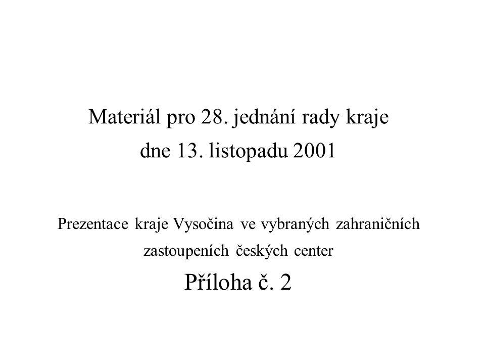 Materiál pro 28. jednání rady kraje dne 13. listopadu 2001 Prezentace kraje Vysočina ve vybraných zahraničních zastoupeních českých center Příloha č.