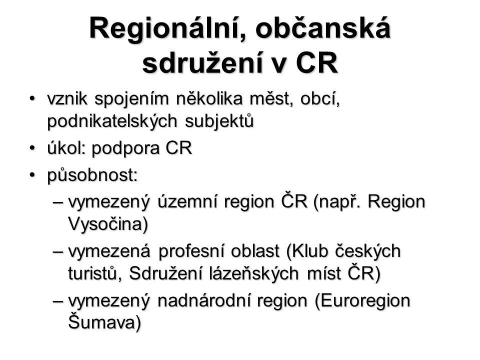 Regionální, občanská sdružení v CR vznik spojením několika měst, obcí, podnikatelských subjektůvznik spojením několika měst, obcí, podnikatelských subjektů úkol: podpora CRúkol: podpora CR působnost:působnost: –vymezený územní region ČR (např.