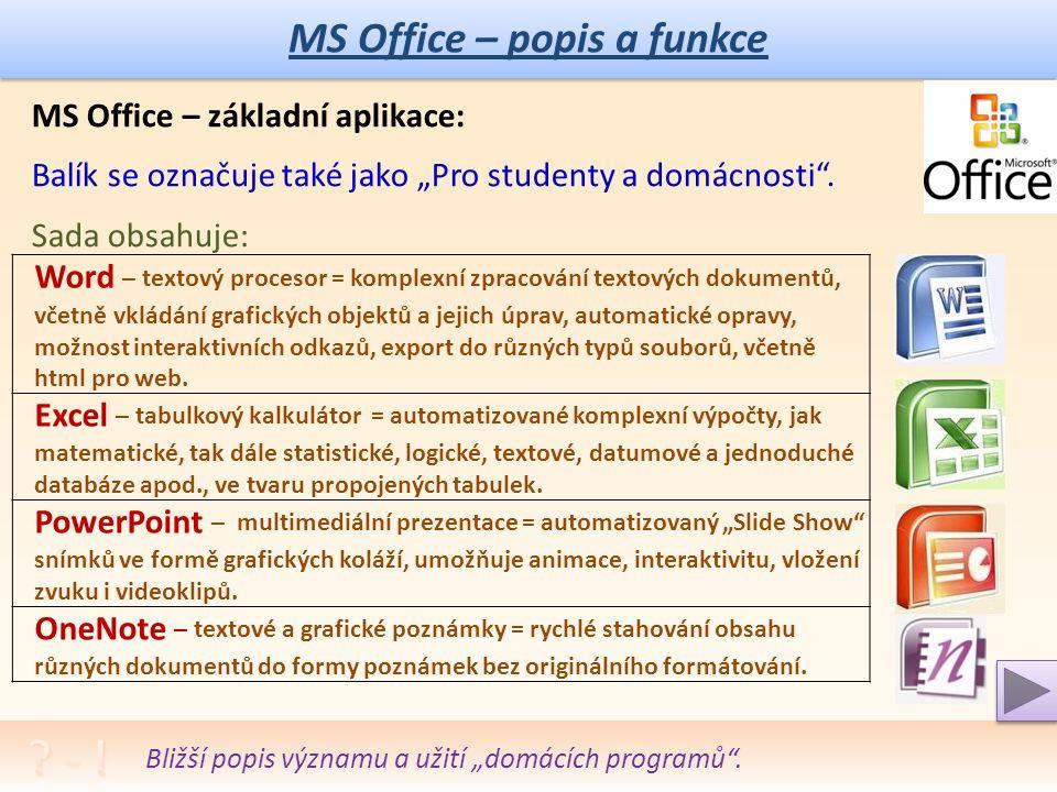 """MS Office – popis a funkce Význam slova """"balík v tomto ICT významu, vysvětlení cizích slov."""