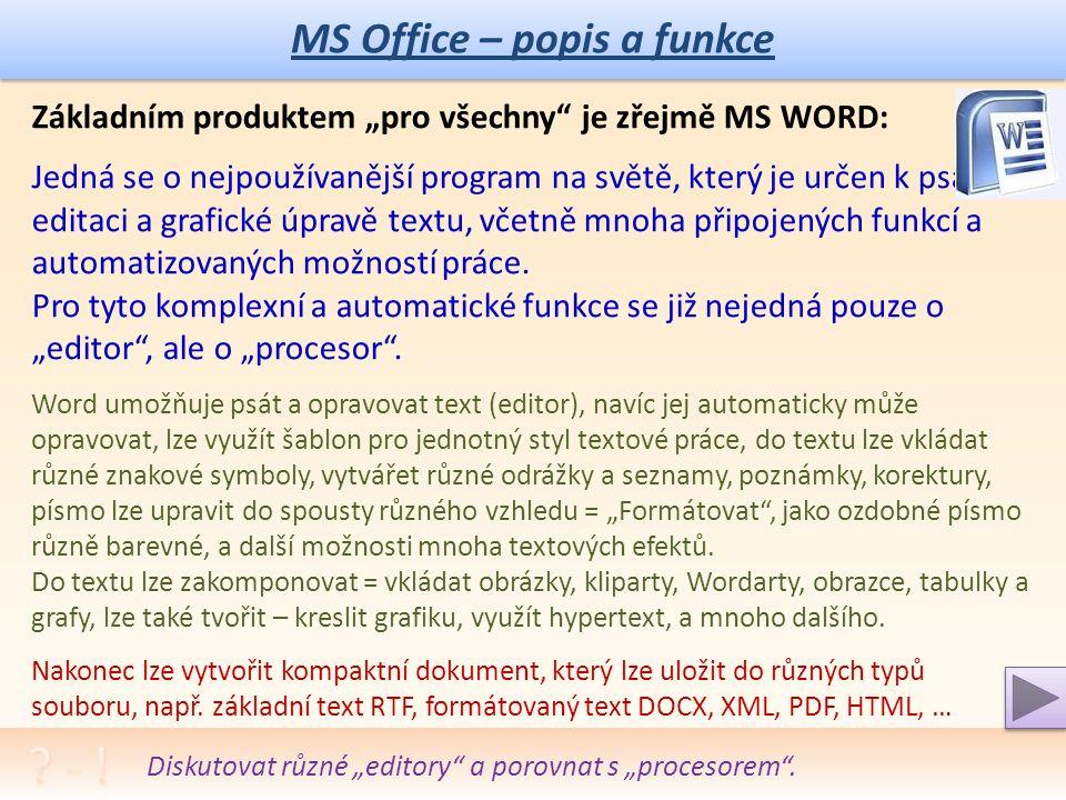 """MS Office – popis a funkce MS Office – základní aplikace: Balík se označuje také jako """"Pro studenty a domácnosti ."""