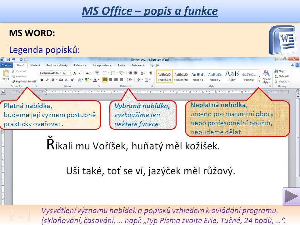 MS Office – popis a funkce MS WORD: Popis okna: Detailnější popis významu jednotlivých částí okna programu.
