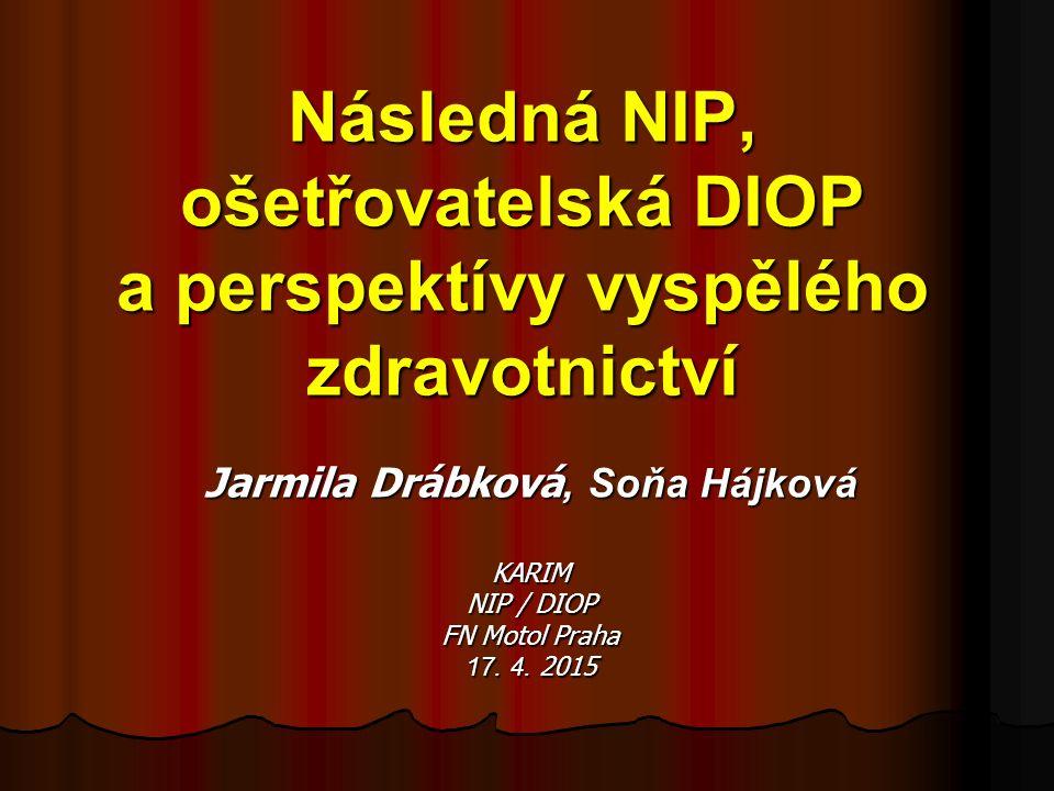 Následná NIP, ošetřovatelská DIOP a perspektívy vyspělého zdravotnictví Jarmila Drábková, Soňa Hájková KARIM NIP / DIOP FN Motol Praha 17. 4. 2015