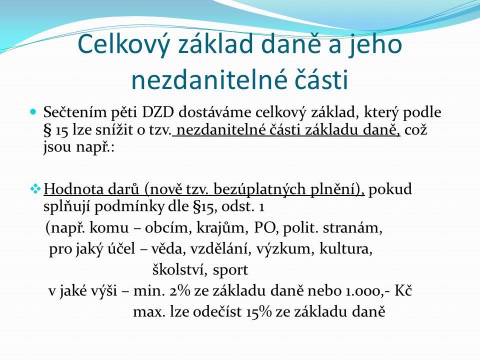 Celkový základ daně a jeho nezdanitelné části Sečtením pěti DZD dostáváme celkový základ, který podle § 15 lze snížit o tzv.