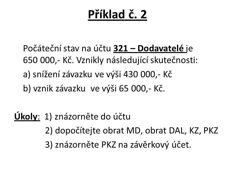 Příklad č. 2 Počáteční stav na účtu 321 – Dodavatelé je 650 000,- Kč.