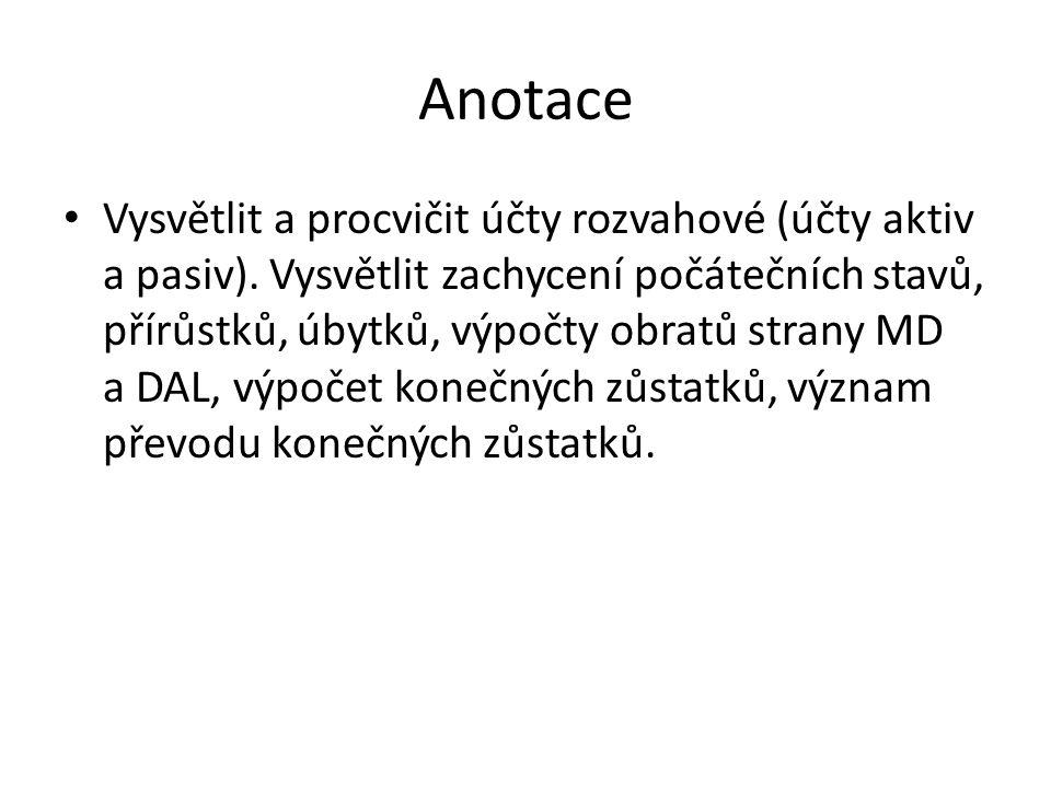 Anotace Vysvětlit a procvičit účty rozvahové (účty aktiv a pasiv).