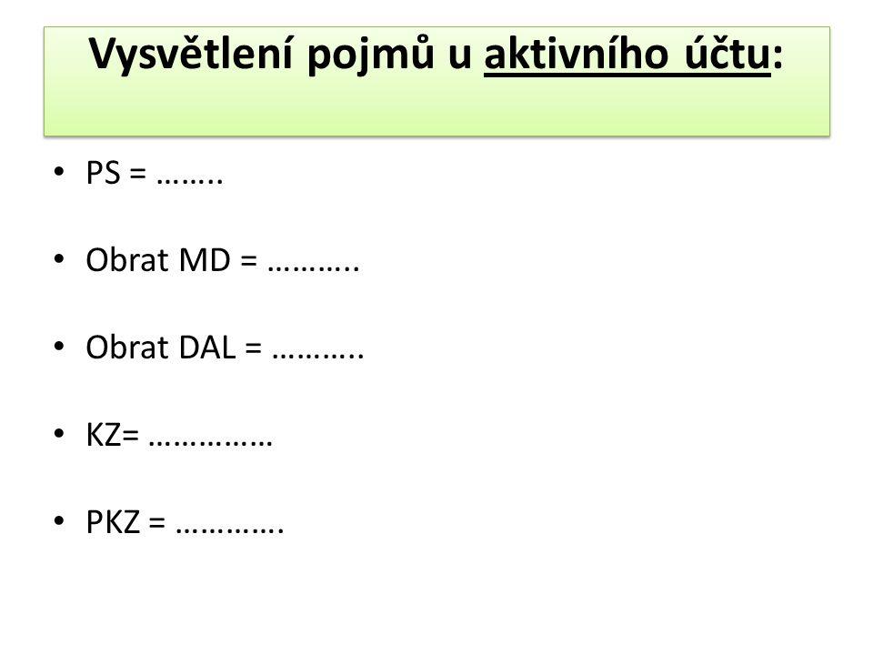 Vysvětlení pojmů u aktivního účtu: PS = …….. Obrat MD = ………..