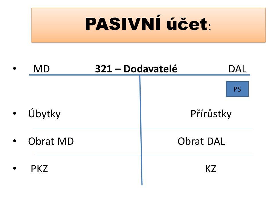 PASIVNÍ účet : MD 321 – Dodavatelé DAL Úbytky Přírůstky Obrat MDObrat DAL PKZKZ PS