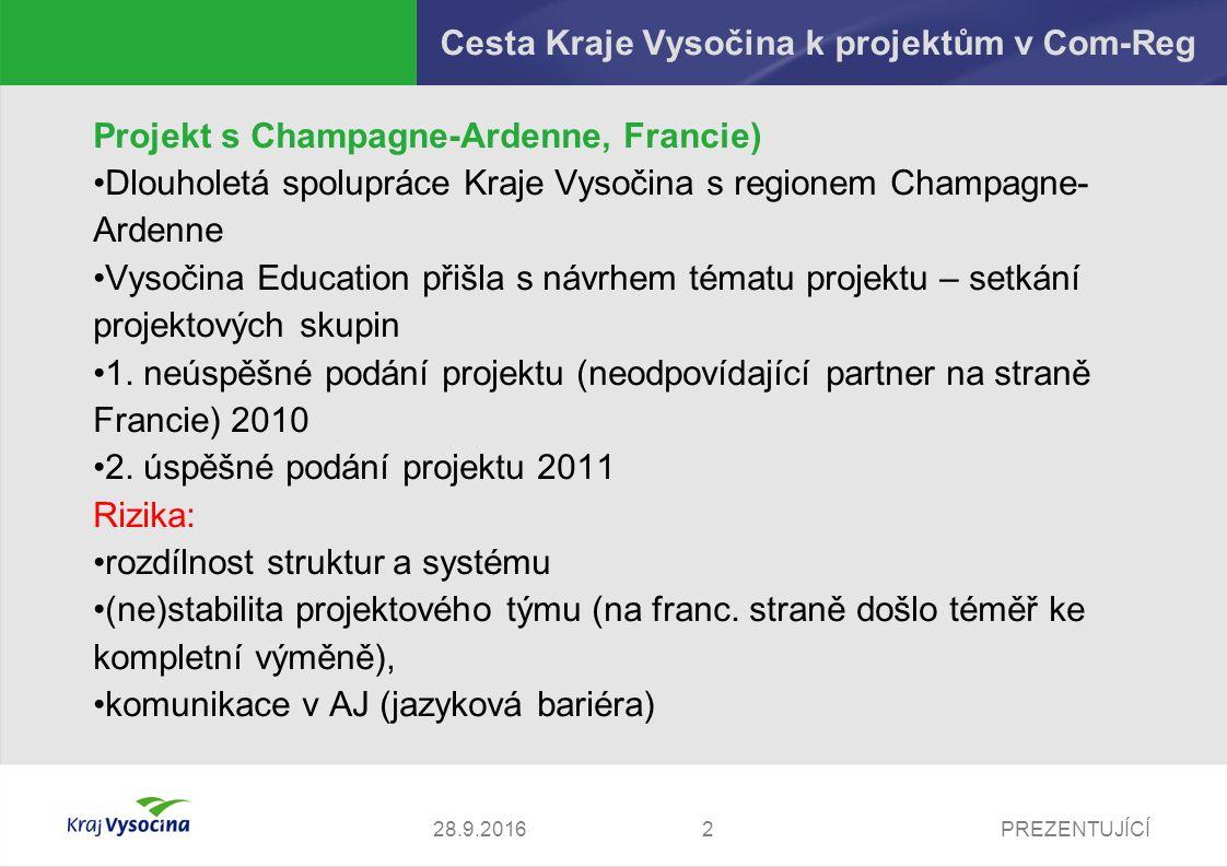 PREZENTUJÍCÍ Cesta Kraje Vysočina k projektům v Com-Reg Projekt s Tampere, Finsko) Dřívější kontakty Vysočiny Education (první cesta delegace z Kraje Vysočina do Tampere 2006) 2.