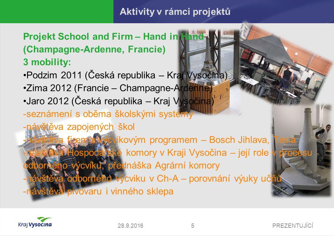 PREZENTUJÍCÍ Aktivity v rámci projektů Projekt Effective School Management (Tampere, Finsko) 3 mobility: Podzim 2011 (Česká republika – Kraj Vysočina) Zima a Jaro 2012 (Finsko – Tampere) -Seznámení s rozdíly vzdělávacích systémů v obou zemích -Návštěva zapojených škol -Seznámení s principy hodnocení škol a řízení kvality -Seznámení s principy studia na pedagogických fakultách směřující ke kvalitě výuky -Získání informací o poradenském systému -Návštěva památky UNESCO 628.9.2016