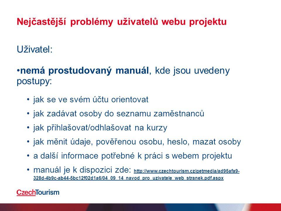Nejčastější problémy uživatelů webu projektu Uživatel: nemá prostudovaný manuál, kde jsou uvedeny postupy: jak se ve svém účtu orientovat jak zadávat osoby do seznamu zaměstnanců jak přihlašovat/odhlašovat na kurzy jak měnit údaje, pověřenou osobu, heslo, mazat osoby a další informace potřebné k práci s webem projektu manuál je k dispozici zde: http://www.czechtourism.cz/getmedia/ad95afa9- 328d-4b9c-ab44-5bc12f02d1a6/04_09_14_navod_pro_uzivatele_web_stranek.pdf.aspx http://www.czechtourism.cz/getmedia/ad95afa9- 328d-4b9c-ab44-5bc12f02d1a6/04_09_14_navod_pro_uzivatele_web_stranek.pdf.aspx