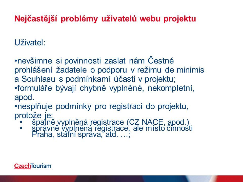 Nejčastější problémy uživatelů webu projektu Uživatel: občas zadá chybné údaje do registračního formuláře (zejm.