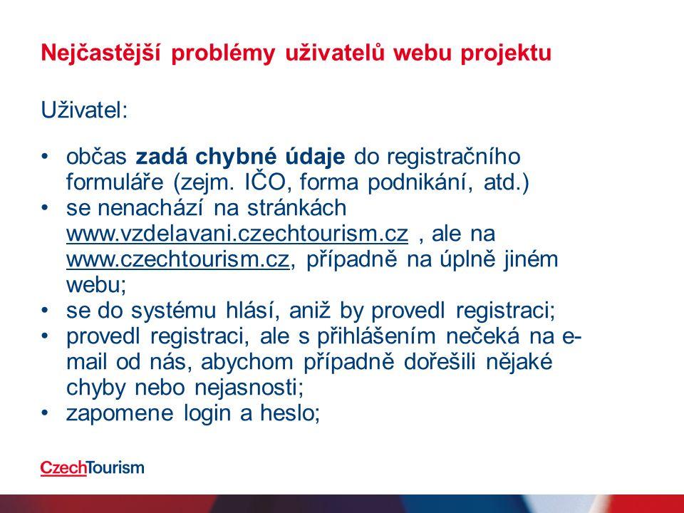 Nejčastější problémy uživatelů webu projektu Uživatel: často nechápe, že kurzy nerealizuje samotný CzechTourism, ale externí dodavatel; si často duplikuje účty (1x jako zodpovědná osoba, 1x zaměstnanec); se nestihne přihlásit v řádném termínu (lze dodatečně skrze dodavatele); nedostatečně/špatně vyplňuje údaje k firmě/zaměstnancům (!), což se promítne do prezenčních listin a špatně vyplňuje/podepisuje také prezenční listiny na kurzech;