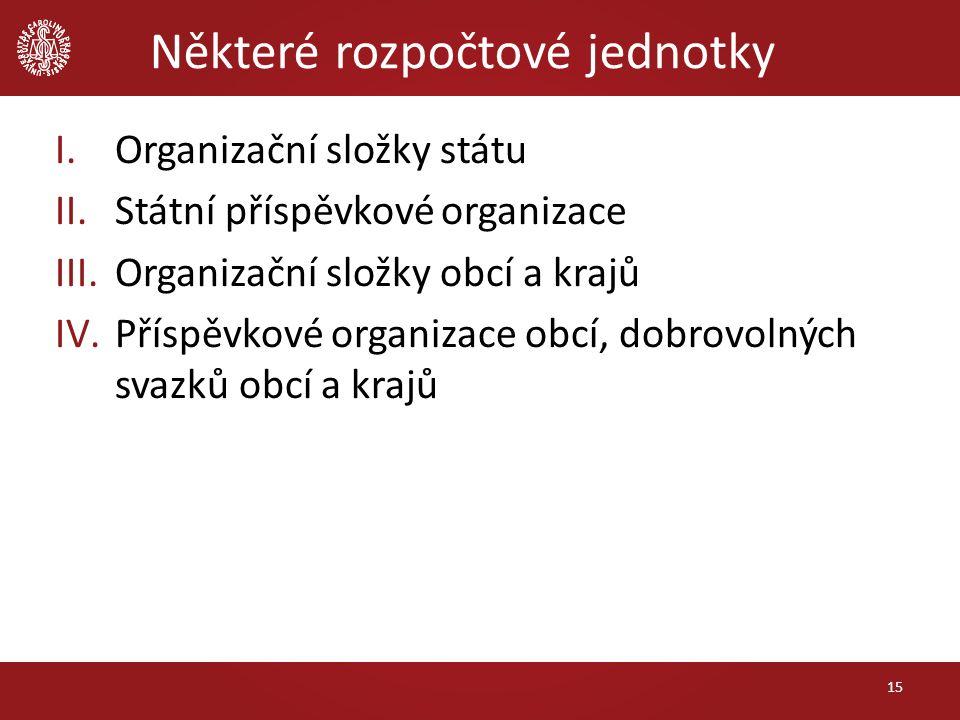 Některé rozpočtové jednotky I.Organizační složky státu II.Státní příspěvkové organizace III.Organizační složky obcí a krajů IV.Příspěvkové organizace
