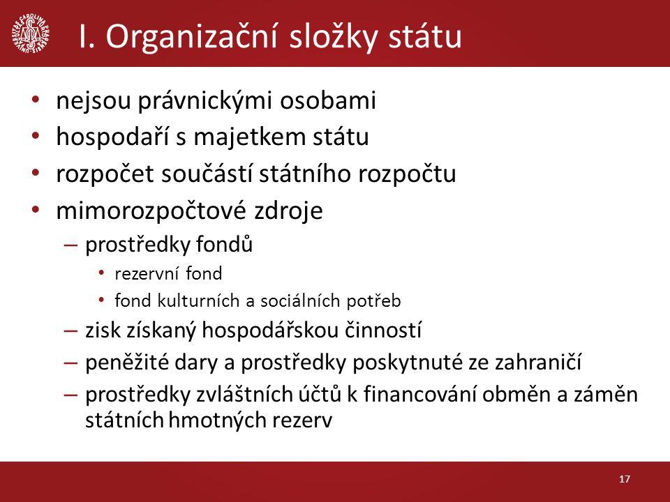 I. Organizační složky státu nejsou právnickými osobami hospodaří s majetkem státu rozpočet součástí státního rozpočtu mimorozpočtové zdroje – prostřed