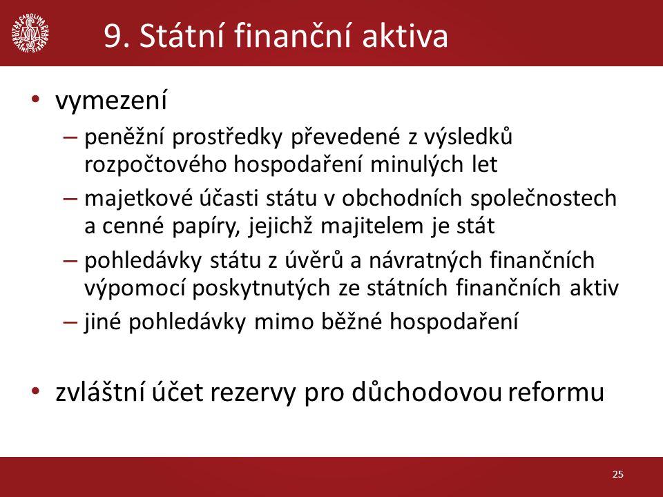 9. Státní finanční aktiva vymezení – peněžní prostředky převedené z výsledků rozpočtového hospodaření minulých let – majetkové účasti státu v obchodní