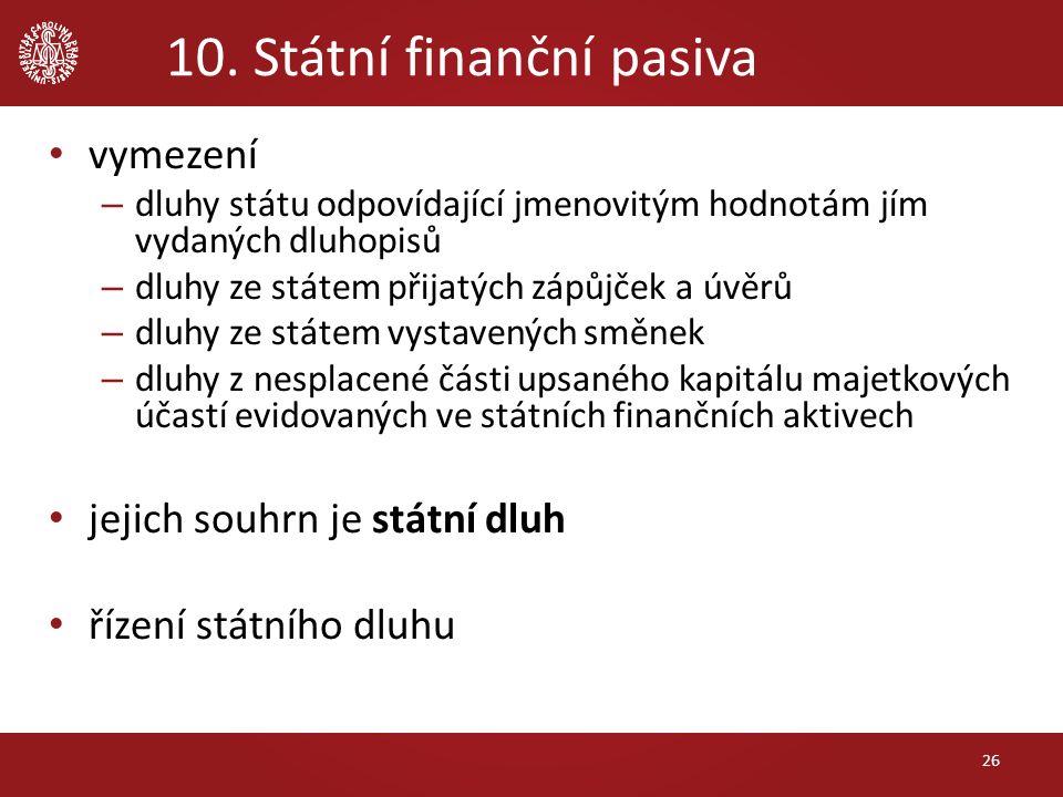 10. Státní finanční pasiva vymezení – dluhy státu odpovídající jmenovitým hodnotám jím vydaných dluhopisů – dluhy ze státem přijatých zápůjček a úvěrů