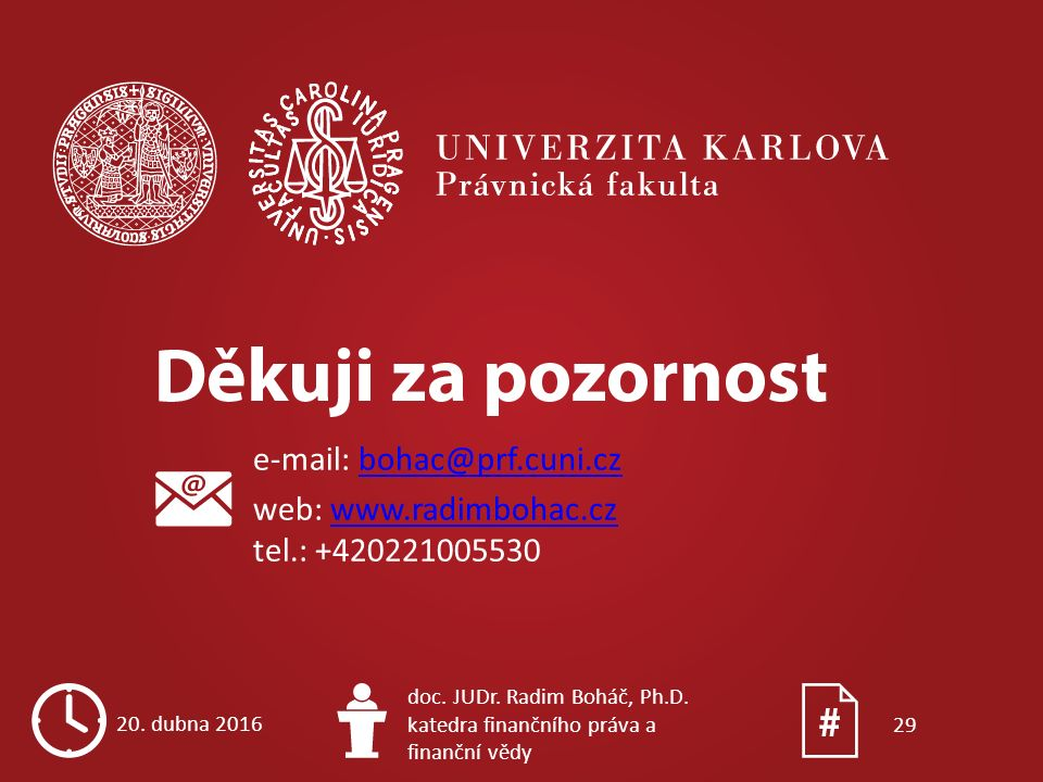e-mail: bohac@prf.cuni.czbohac@prf.cuni.cz web: www.radimbohac.cz tel.: +420221005530www.radimbohac.cz 20. dubna 2016 doc. JUDr. Radim Boháč, Ph.D. ka