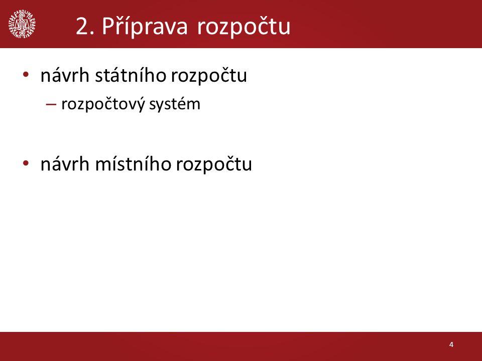 2. Příprava rozpočtu návrh státního rozpočtu – rozpočtový systém návrh místního rozpočtu 4
