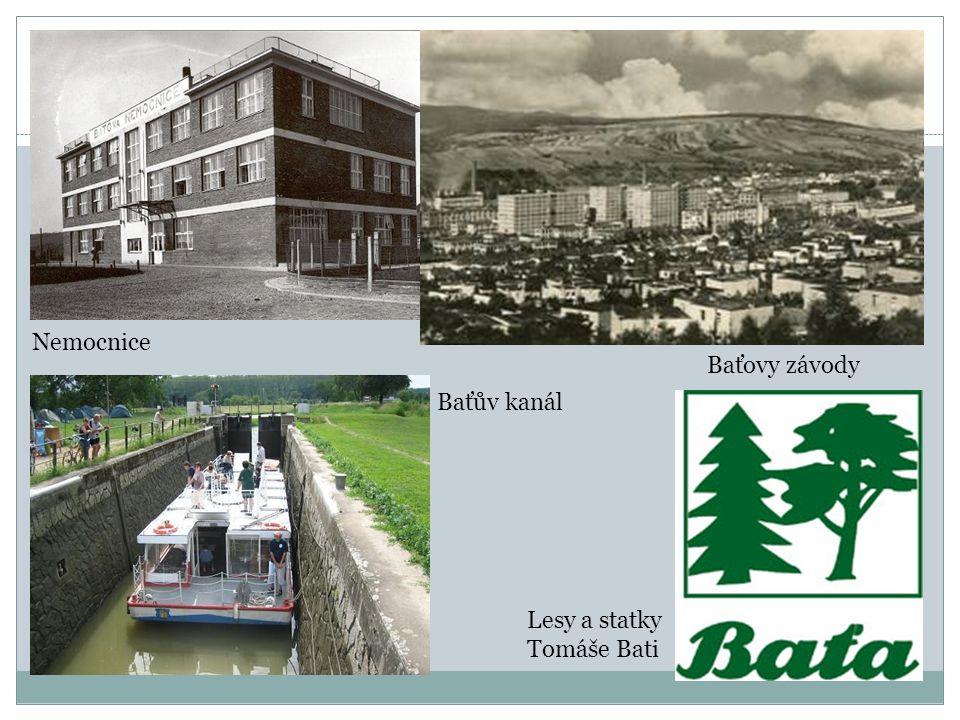 Nemocnice Baťovy závody Baťův kanál Lesy a statky Tomáše Bati
