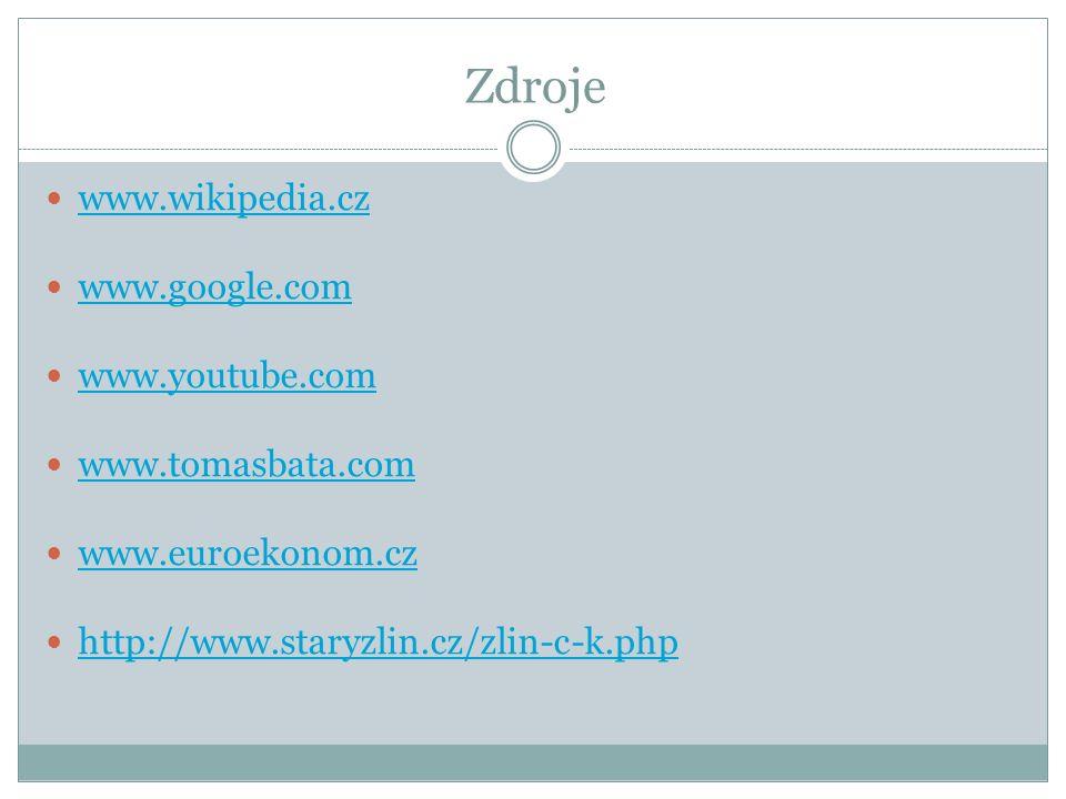 Zdroje www.wikipedia.cz www.google.com www.youtube.com www.tomasbata.com www.euroekonom.cz http://www.staryzlin.cz/zlin-c-k.php