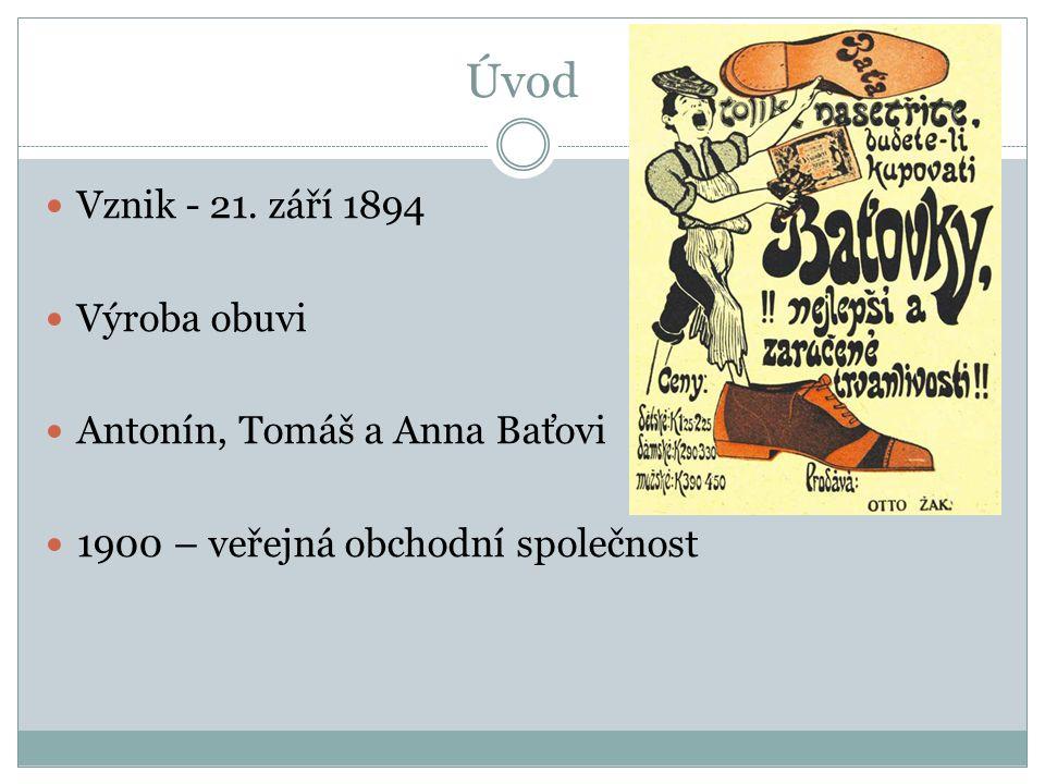 Úvod Vznik - 21. září 1894 Výroba obuvi Antonín, Tomáš a Anna Baťovi 1900 – veřejná obchodní společnost