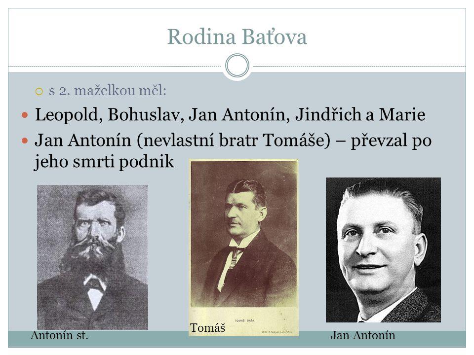 Rodina Baťova  s 2. maželkou měl: Leopold, Bohuslav, Jan Antonín, Jindřich a Marie Jan Antonín (nevlastní bratr Tomáše) – převzal po jeho smrti podni