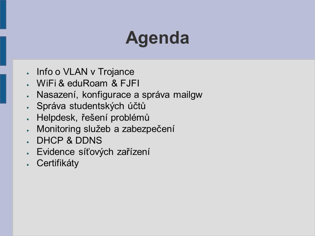 Agenda ● Info o VLAN v Trojance ● WiFi & eduRoam & FJFI ● Nasazení, konfigurace a správa mailgw ● Správa studentských účtů ● Helpdesk, řešení problémů ● Monitoring služeb a zabezpečení ● DHCP & DDNS ● Evidence síťových zařízení ● Certifikáty
